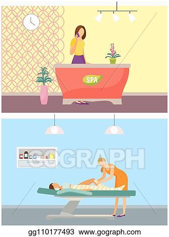 Clip Art Vector Spa Salon Reception And Body Wrapping Set Vector Stock Eps Gg110177493 Gograph