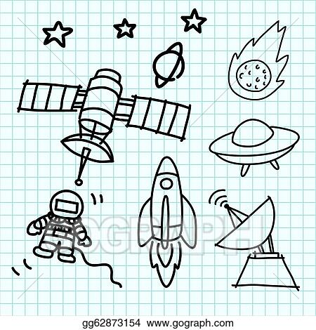 clip art vector space set hand draw on graph paper stock eps