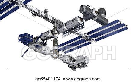 Stock Illustration Space Station Satellite Isolated