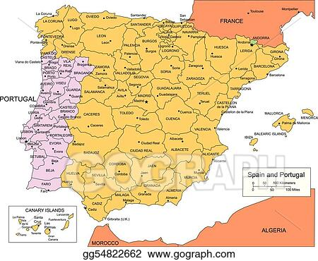 Map Of Spain Portugal And France.Eps Illustration Spain And Portugal With Administrative Districts