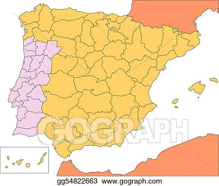 EPS Illustration - Spain and portugal with administrative districts ...