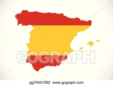 Country Of Spain Map.Vector Clipart Spain Flag And Map Country Shape Idea Design