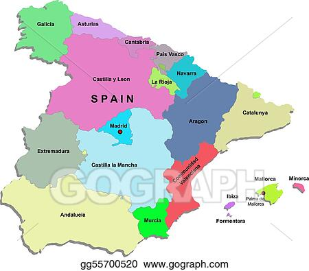 Map Of Spain Drawing.Vector Art Spain Map Clipart Drawing Gg55700520 Gograph
