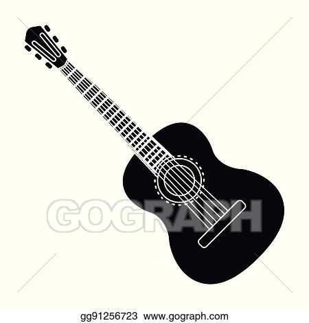 Vector Clipart Spanish Acoustic Guitar Icon In Black Style