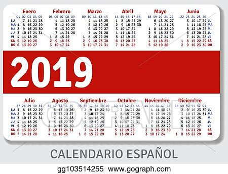 Calendario Julio 2019 Vector.Vector Stock Spanish Pocket Calendar For 2019 Clipart