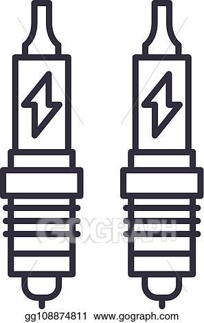 Vector Stock Spark Plug Line Icon Concept Spark Plug Vector