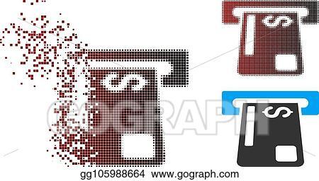 Vector Stock - Sparkle pixel halftone payment terminal icon  Stock
