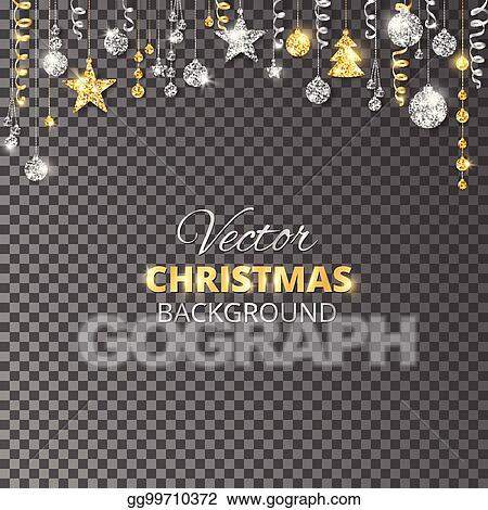 sparkling christmas glitter ornaments gold and silver fiesta border garland with hanging balls and ribbons isolated on transparent background