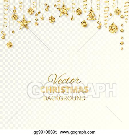 sparkling christmas glitter ornaments golden fiesta border festive garland with hanging balls and ribbons isolated on transparent background