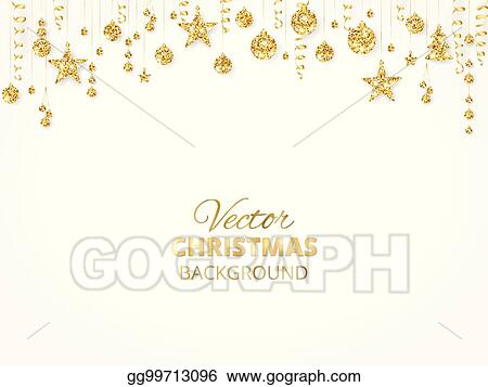 sparkling christmas glitter ornaments golden fiesta border festive garland with hanging balls and ribbons isolated on white