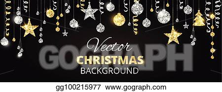 sparkling christmas glitter ornaments golden fiesta border festive garland with hanging balls and ribbons on black