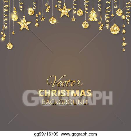 sparkling christmas glitter ornaments golden fiesta border festive garland with hanging balls and ribbons