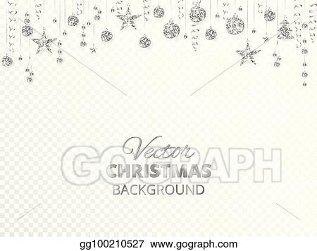 sparkling christmas glitter ornaments silver fiesta border festive garland with hanging balls and ribbons isolated on transparent background