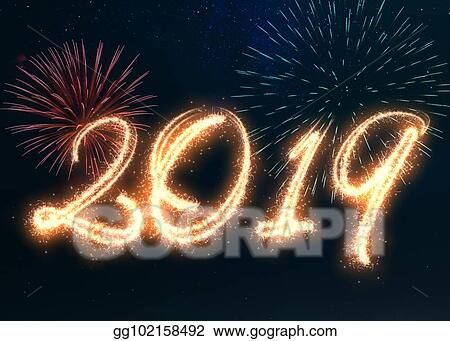 sparkling happy new year 2019 fireworks