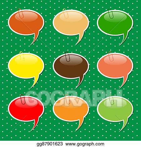 stock illustration speech bubble sticker shapes in pastel colors