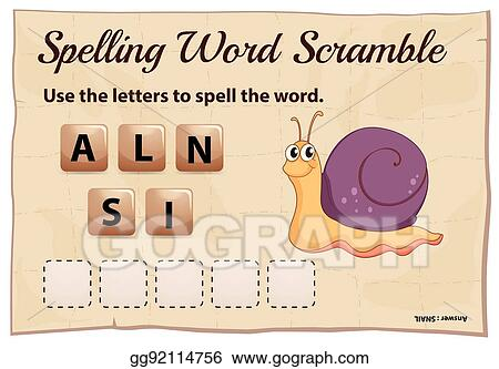 vector clipart spelling word scramble game template for snail