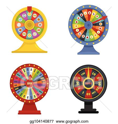 vector clipart spin wheel banner concept set vector isolated