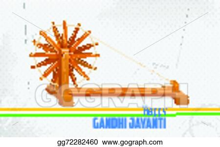 Cool Vector Illustration Spinning Wheel On India Background For Gandhi Wiring Database Redaterrageneticorg