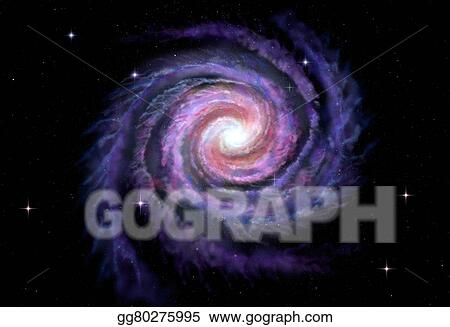 Spiral galaxy. Stock illustration of milky