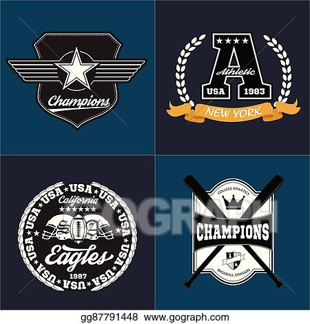 8fe4f372c Sport athletic champions college baseball football logo emblem collection.  Vector Graphics and typography t-shirt