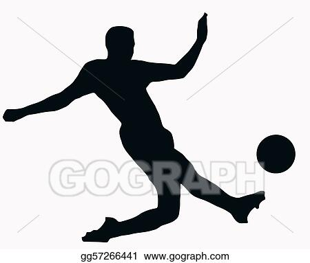 Vector Art Sport Silhouette Socer Player Kicking Ball Clipart Drawing Gg57266441 Gograph