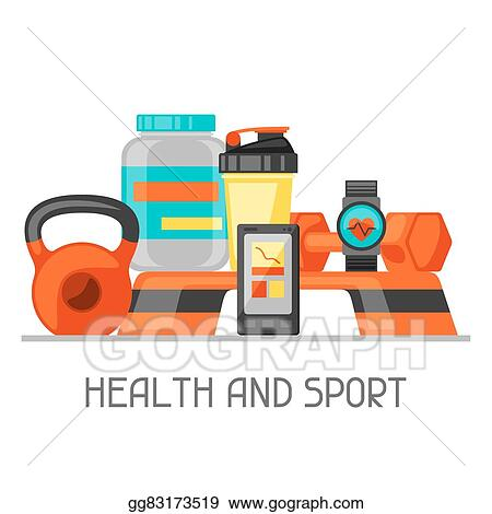 vector illustration sports and healthy lifestyle background with