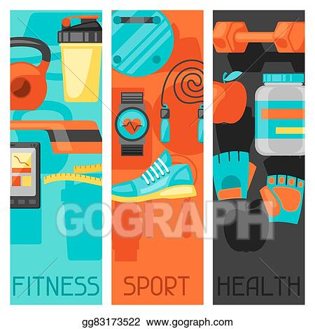 vector illustration sports and healthy lifestyle banners with