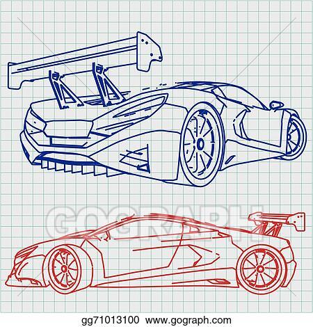 Vector art sports car sketch blueprint clipart drawing gg71013100 sports car sketch blueprint malvernweather Gallery