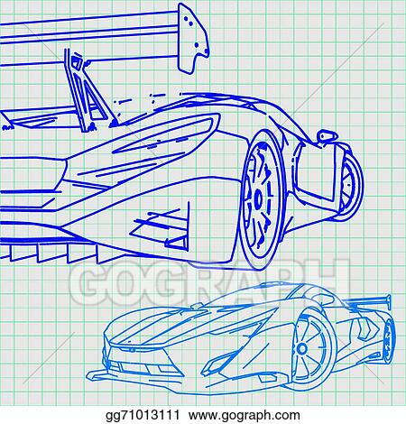 Vector art sports car sketch blueprint clipart drawing gg71013111 sports car sketch blueprint malvernweather Gallery