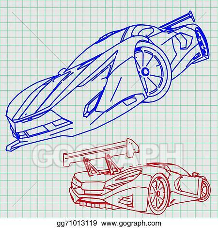 Vector art sports car sketch blueprint clipart drawing gg71013119 sports car sketch blueprint malvernweather Choice Image