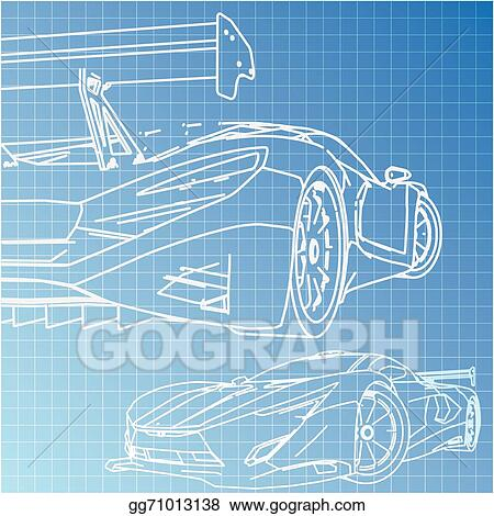 Vector Art - Sports car sketch blueprint  Clipart Drawing