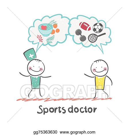 EPS Vector - Sports doctor speaks to man of sport and healthy food ...