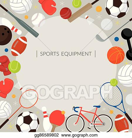 Vector Stock Sports Equipment Flat Icons Frame Stock