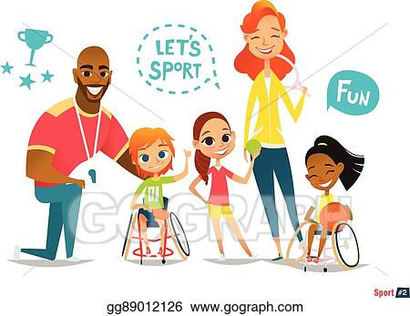 Vector Stock - Sports family. handicapped kids in ...