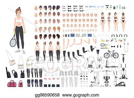Vector Stock Sports Girl Character Constructor Fitness Woman