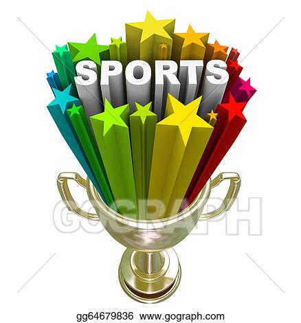 Sports word. Stock illustration gold trophy