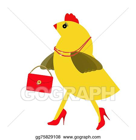 Stock Illustration - Spring chicken character with bling ...