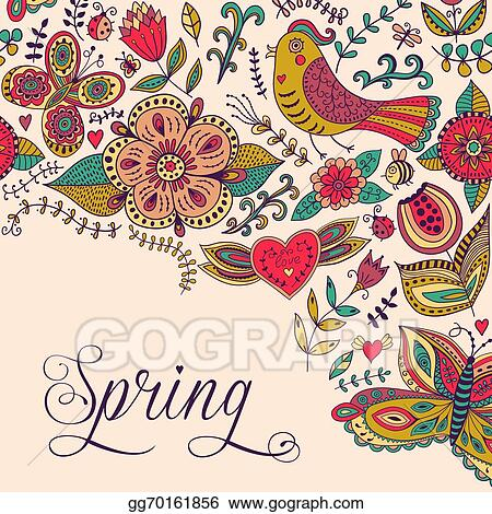 Vector Illustration Spring Coming Card Floral Background Spring