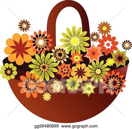Vector Illustration Spring Flower Basket Card Vector Illustration