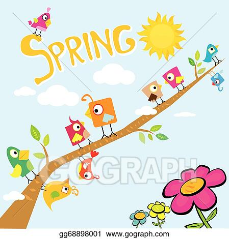 Vector Art Spring Flowers And Birds Vector Background Eps Clipart