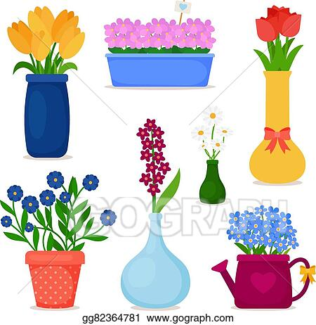 Vector Stock Spring Flowers In Pots And Vase Set Clipart