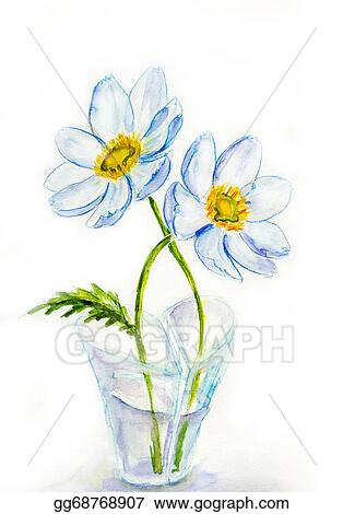 Stock Illustration Spring Flowers In Vase Heartshaped Watercolor