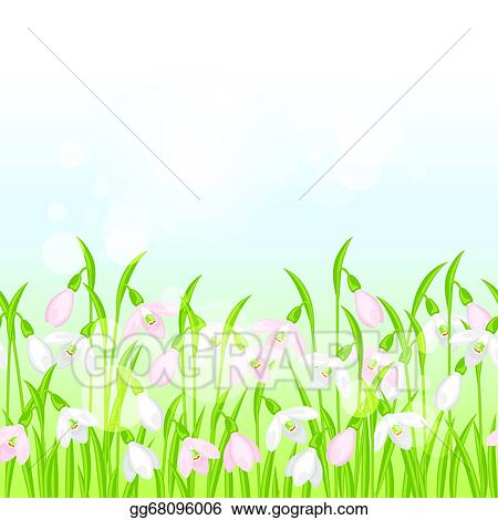 Vector Illustration Spring Flowers Snowdrops Seamless Pattern