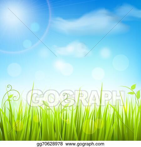 Vector Stock Spring Meadow Grass Blue Sky Poster Clipart