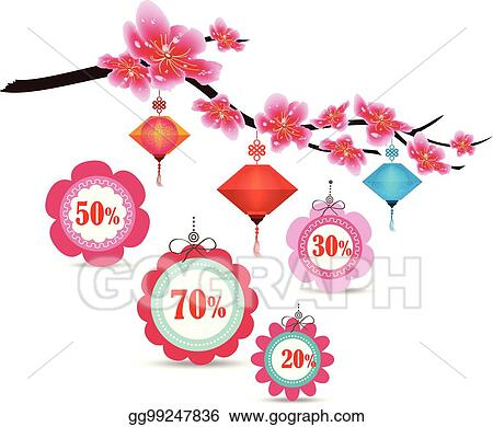 spring sale label design with sakura flowers cherry blossoms and lantern chinese new year