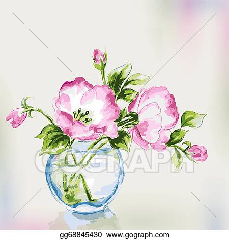 Vector Stock Spring Watercolor Flowers In Vase Stock Clip Art