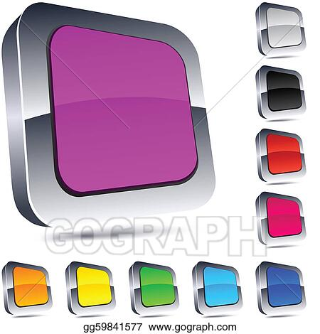 Vector Illustration - Square 3d buttons  EPS Clipart