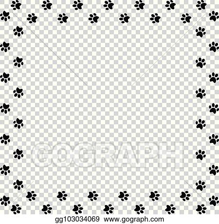 Vector Illustration - Square frame made of black animal paw