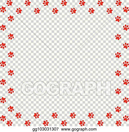 Vector Art Square Frame Made Of Red Animal Paw Prints On
