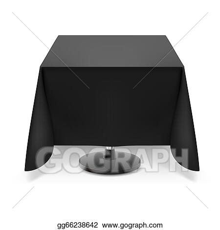 Square Table With Black Tablecloth.